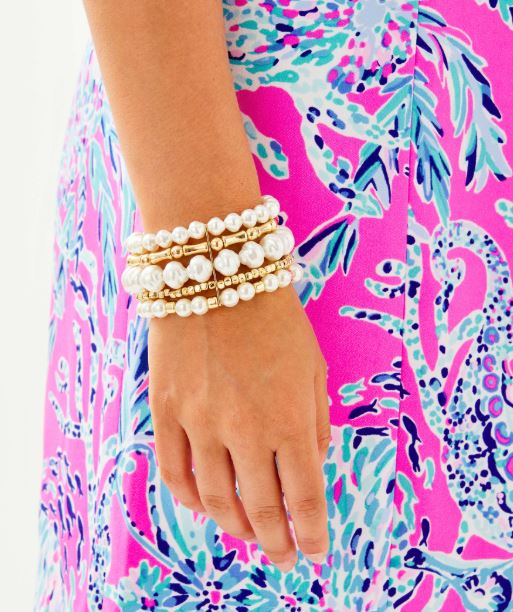 Lilly Pulitzer Kismet Pearl Stretch Bracelet ~ Resort White