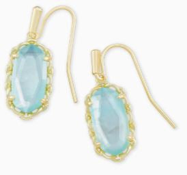 Macrame Lee Gold Drop Earrings ~ Aqua Illusion