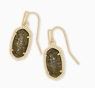 Lee Gold Drop Earrings ~ Olive Epidote