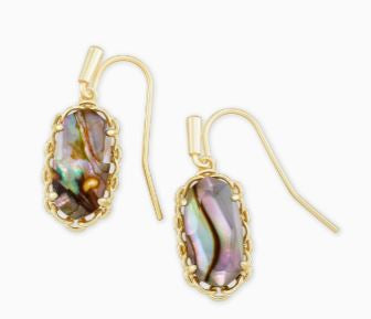 Macrame Lee Gold Drop Earrings ~ Nude Abalone