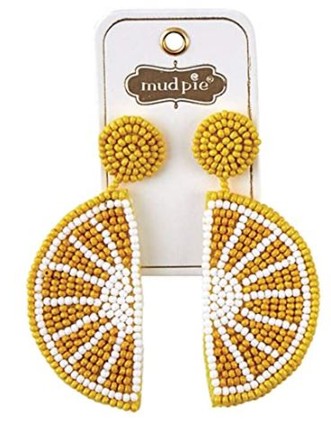 Mud Pie Beaded Icon Earring ~ Lemon