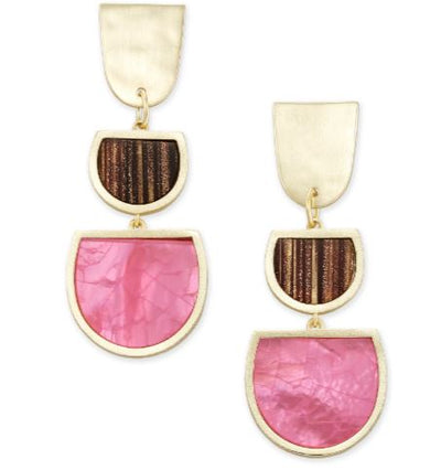 Kendra Scott Luna Gold Drop Earrings ~ Pink Mix