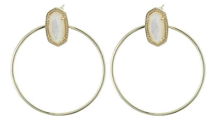Mayra Open Frame Earring ~ Gold Ivory Mother of Pearl