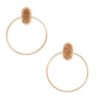 Mayra Rose Gold Hoop Earrings ~ Rose Gold Drusy