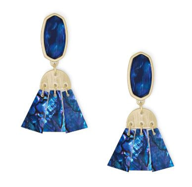 Noah Statement Earrings ~ Gold Navy Abalone