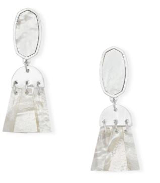 Noah Silver Statement Earrings ~ Ivory Mother-Of-Pearl