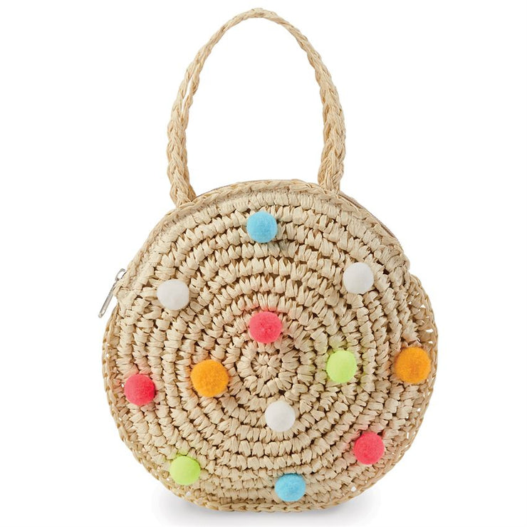 Mud Pie Pom-Pom Round Straw Mini Purse