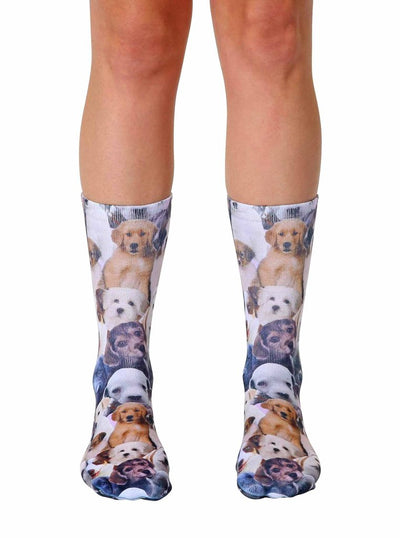 Living Royal Puppy All Over Crew Socks