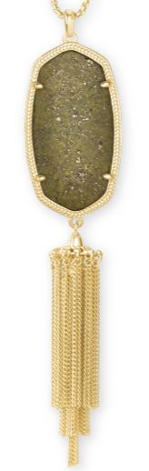 Rayne Gold Long Pendant Necklace ~ Olive Epidote