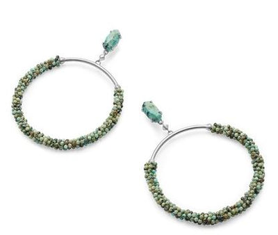 Russel Hoop Earrings ~ Silver African Turquoise