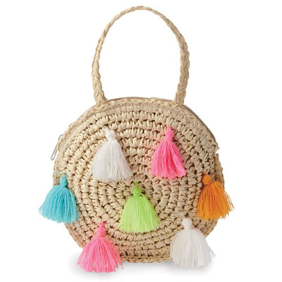 Mud Pie Tassel Round Straw Mini Purse