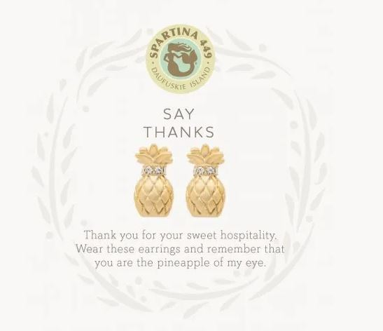 Spartina Sea La Vie Stud Thanks Earrings ~ Gold