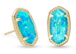 Ellie Gold Stud Earrings ~ Turquoise Kyocera Opal