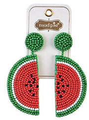 Mud Pie Beaded Icon Earring ~ Watermelon