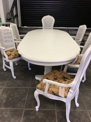 refinished dining room table and chairs