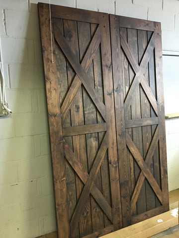 Double pantry barn door with 2 cris crosses