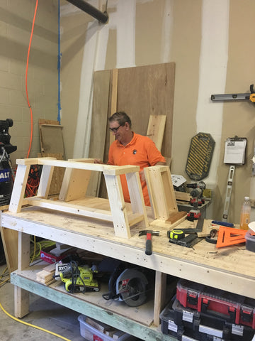 Dad building a bench