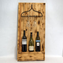 Load image into Gallery viewer, Wooden Rustic & Metal Rake Wine and Glass Rack