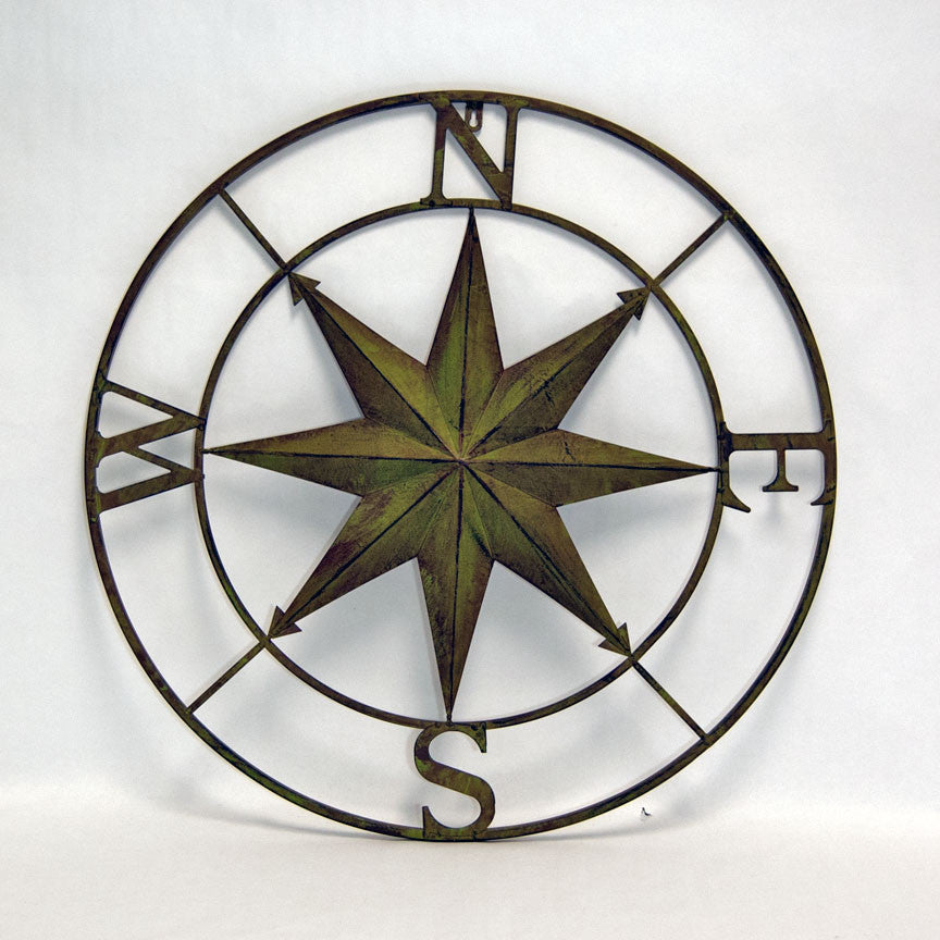 Rose Compass Wall Art; Metal Compass Wall Decor ...