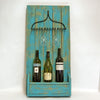 Shabby Chic Chalk Blue Painted Wooden Rustic & Metal Rake Wine and Glass Rack