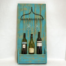 Load image into Gallery viewer, Shabby Chic Chalk Blue Painted Wooden Rustic & Metal Rake Wine and Glass Rack