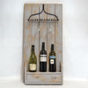 Shabby Chic Chalk Grey Painted Wooden Rustic & Metal Rake Wine and Glass Rack