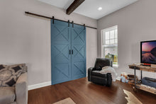 Load image into Gallery viewer, home office doors, blue barn doors in living room, handcrafted barn doors, large barn doors, massive size barn doors, interior barn doors, barn doors for home office