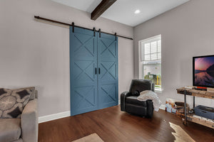 home office doors, blue barn doors in living room, handcrafted barn doors, large barn doors, massive size barn doors, interior barn doors, barn doors for home office