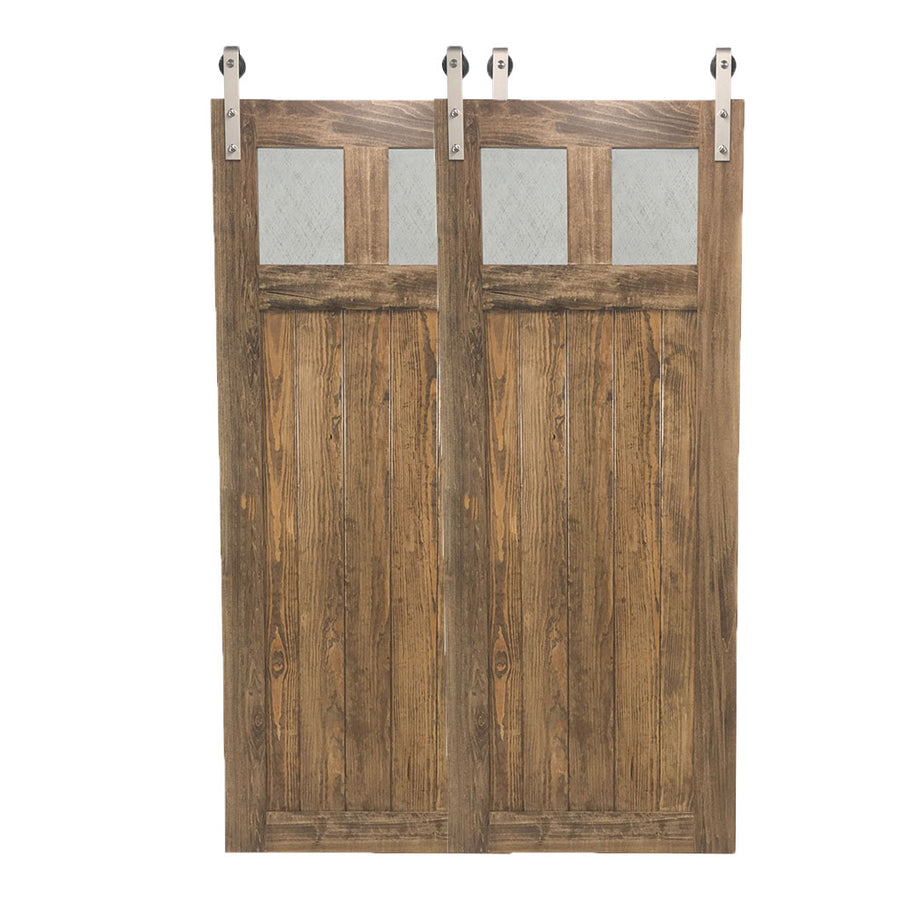 "BYPASS BARN DOORS-""Glass Craftsman"" Style"
