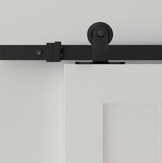 Bi Parting: Black Top Mount Modern Barn Door Track and Hardware