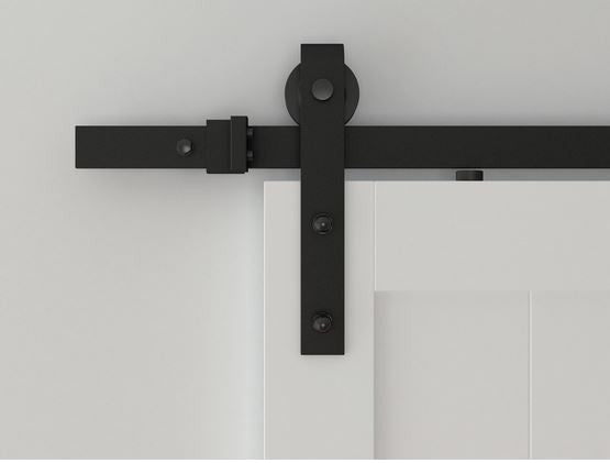 Bi Parting: Black Barn Door Track with Strap Hardware