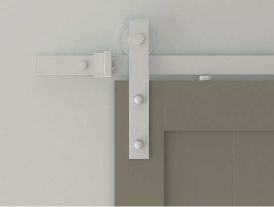Flat Track Series: White Barn Door Track and Strap Hardware