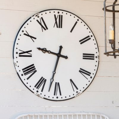 farmhouse clock, farmhouse wall clock, large wall clock, large white and black farmhouse clock, metal wall clock