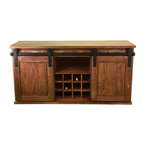 Expresso wood wine cabinet with sliding barn doors, solid wooden wine cabinet, farmhouse wine cabinet, wood buffet with sliding barn doors,