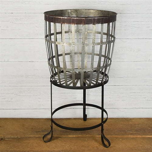 round raised tin basket, old fashioned basket on stand, basket on stand,