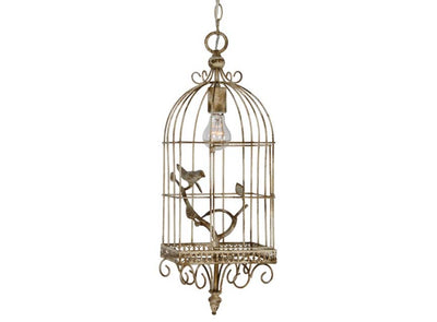 Bird Cage Light, Cream bird light, lighting, farmhouse lighting, shabby chic light