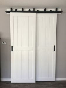 White barn doors for home office, home office doors, home office privacy doors, white interior sliding doors, white barn doors bypass,