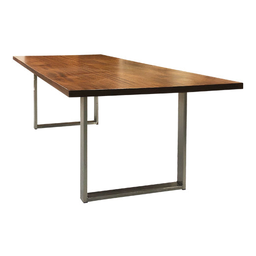 Charlie-Modern Silver Metal Leg Conference Room Table with Mahogany Top