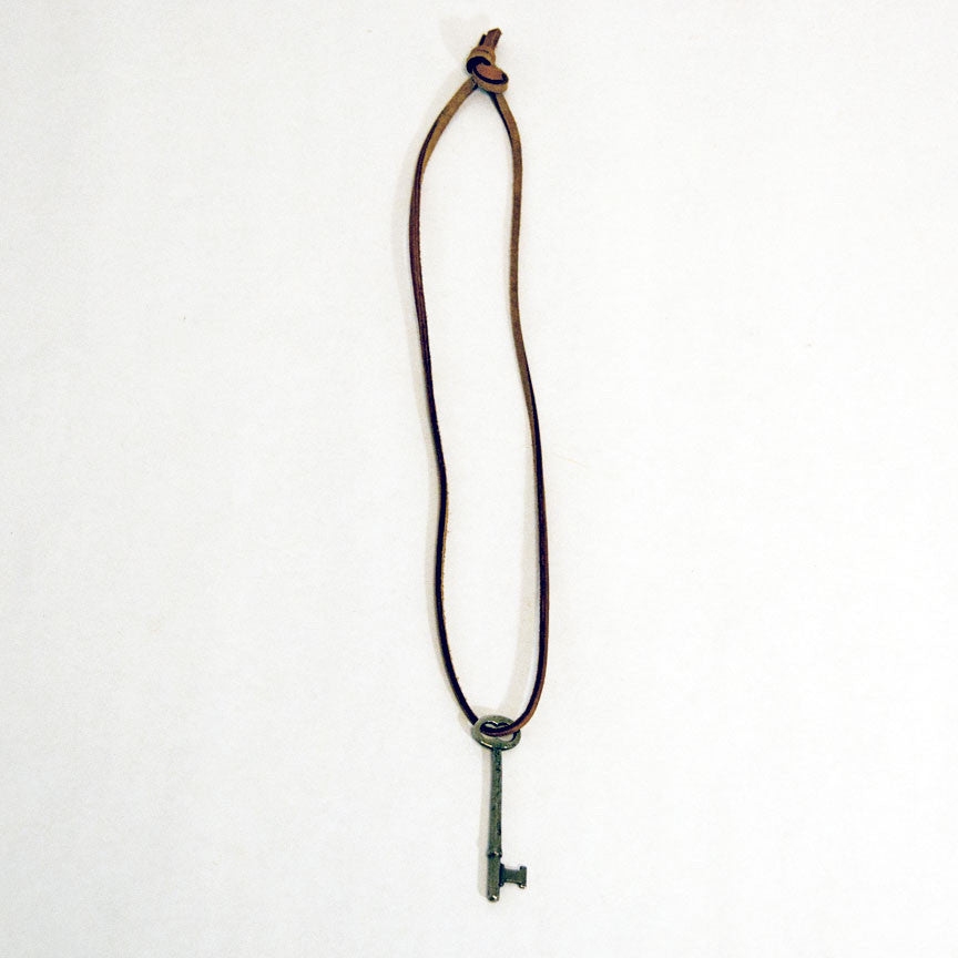 Leather Necklace with Key Pendant