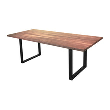 Load image into Gallery viewer, modern dining room table, walnut wood dining table with black metal legs, modern dining table with black legs and wood top, industrial dining table, industrial dining table with black metal legs and wood top