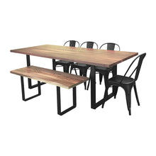 Load image into Gallery viewer, Industrial dining table set, industrial table with chairs and bench, wooden dining table with industrial legs, industrial farmhouse dining room set, dining table with chairs and bench, farmhouse table with chairs and bench