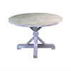round farmhouse dining table, whitewash farmhouse table, grey round dining room table