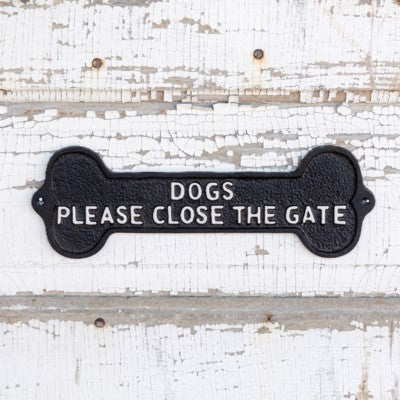 Dogs please close the gate, dog sign, wrought iron dog sign