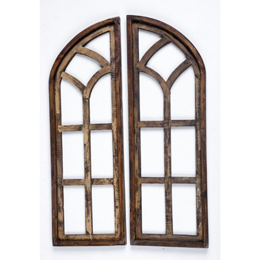 Wood Window Set of 2 Arches