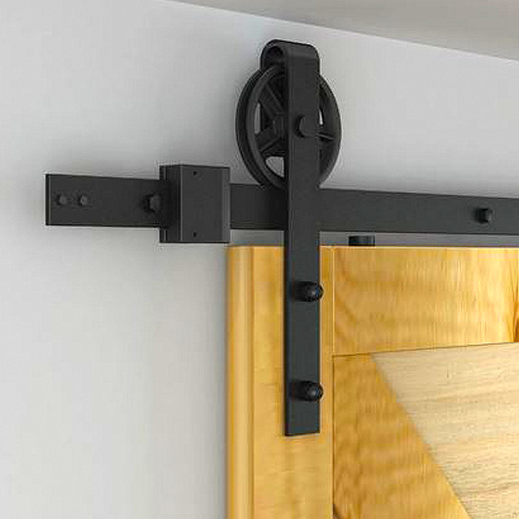 black barn door kit with wheel rollers, wheel track for barn doors, sliding door kit, barn door hardware, barn door rail