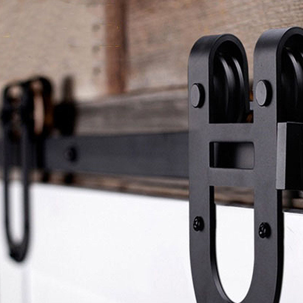 horseshoe barn door kit, barn door rail with horseshoe rollers, single barn door kit, double barn door kit, bypass barn door kit