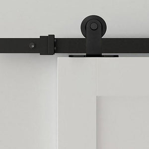 Top Mount black barn door kit, top mount modern black sliding door kit, 6.6ft black top mount barn door kit,