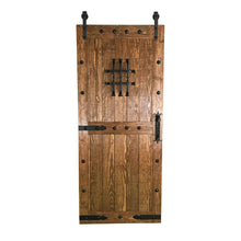 Load image into Gallery viewer, Castle Barn Door, rustic barn door, olde world style barn door, dark old wood sliding door