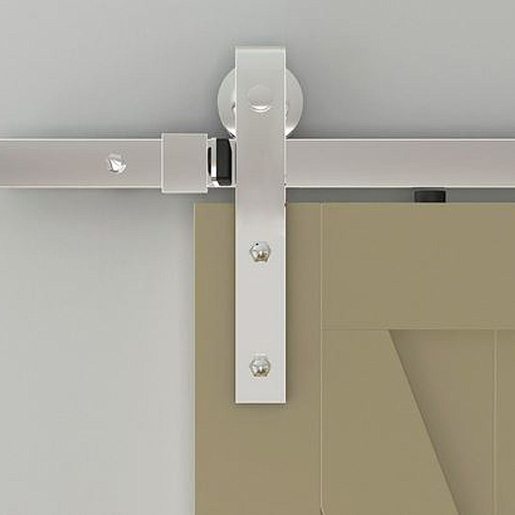 chrome barn door kit, chrome barn door rollers, chrome barn door hardware, chrome 6ft barn door track, chrome 6,6ft barn door track, chrome barn door track with strap rollers