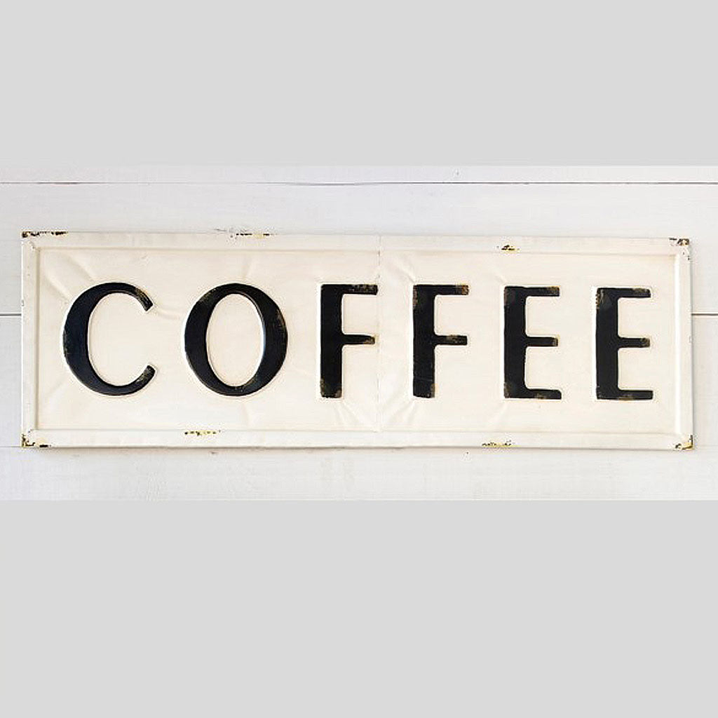 coffee sign, metal coffee sign, old fashioned metal coffee sign